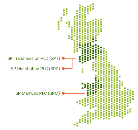 Map showing the three regulated businesses: SP Transmission PLC, SP Distribution PLC and SP Manweb PLC