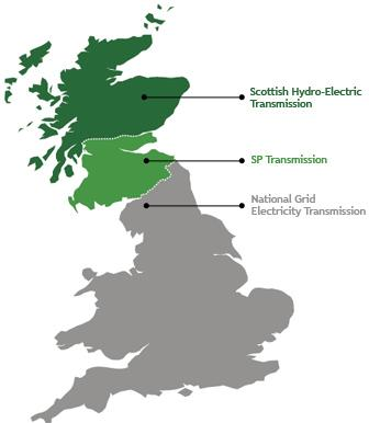 Map showing the 3 transmission regions of the UK: Scottish Hydro-Electric, SP Transmission, and National Grid Electricity Transmission