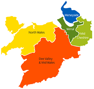 Map showing the SP Manweb licence area, which includes Merseyside, Wirral, Mid Cheshire, Dee Valley & Mid Wales, and North Wales